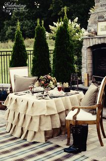ralph lauren inspired outdoor dinner for two, home decor, outdoor living, Ralph Lauren inspired outdoor dinner for two stone fireplace ruffled burlap tablecloth