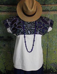 Hand Embroidered Orchid Huipil El Bosque Chiapas Mexican Hippie Cowgirl Fiesta #Handmade #HuipiltunicHuipil
