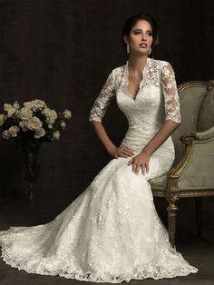 mermaid lace half sleeve embroidery v-neck draping wedding dress