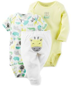 Carter's Baby Boys' or Baby Girls' 3-Piece Giraffe Bodysuits & Pants Set