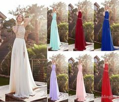 $49.15/piece:buy wholesale  2016 sexy new halter lace chiffon long prom dresses illusion beaded crystals applique split backless floor length summer beach evening gowns 2016 spring summer,reference images,chiffon on enjoyweddinglife's Store from DHgate.com, get worldwide delivery and buyer protection service.