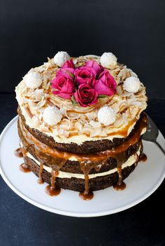 Layered Carrot Cake with Cream Cheese Icing and Caramel Sauce Food Styling Photography Recipe
