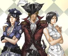 This fancy anime wallpaper shows the three main anime characters from Resident Evil 6. They are wearing fancy anime cosplays.