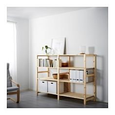 IKEA - IVAR, 2 section shelving unit, Untreated solid pine is a durable natural material that can be painted, oiled or stained according to preference.You can personalize the furniture even more by staining or painting it your favorite color.You can move shelves and adapt spacing to suit your needs.