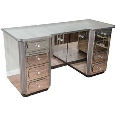 Mirrored Dressing Table or Vanity with Nine Drawers | From a unique collection of antique and modern console tables at https://www.1stdibs.com/furniture/tables/console-tables/