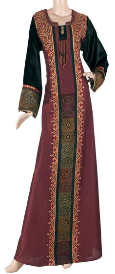 aljalabiya.com: Cotton jalabiya with velvet cuffs and hand & machine embroidery(N-10326) $129.00