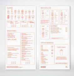 Food infographic Sano by Marina Soto, via Behance Infographic Description Sano by Marina Soto, via Behance - Infographic Source - Menu Restaurant, Restaurant Design, Cafe Menu Design, Food Menu Design, Juice Menu, Branding And Packaging, Design Package, Menu Layout, Menu Book