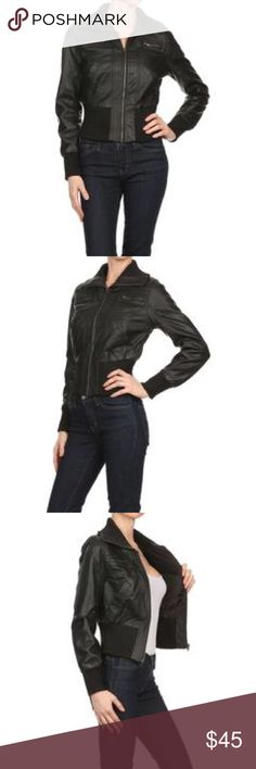 New Look Bomber Jacket Brand New. This stylish chic faux leather, cropped, zip-up, bomber jacket is soft and comfortable fit! Wear this with a pair of leggings or jeans! Fabric Content: Shell: 100% POLYURETHANE: 100% Polyester. Extremely soft and Comfortable! New Look Jackets & Coats
