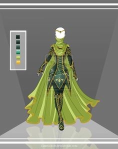 Fantasy outfit green adventure style design