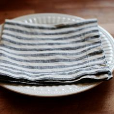 Black Stripe Washed Linen Napkin | Linen Tales