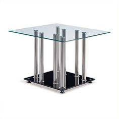 Global Furniture Clear Top End Table with Black Base (2,275 HNL) ❤ liked on Polyvore featuring home, furniture, tables, accent tables, chrome end table, black chairside table, onyx table, contemporary accent tables and chrome furniture