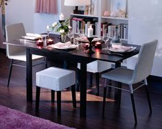 BJURSTA dining table extended to fit extra guests-ikea inspiration