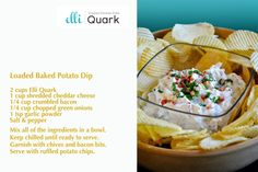 Loaded Baked Potato Dip made with Schweizer Quark Baked Potato Dip, Loaded Baked Potatoes, Quark Recipes, Cheddar Cheese, Healthy Choices, Sweet Recipes, Dips, Bacon, Favorite Recipes