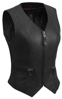 Save $ 10 order now True Element Womens Short Fitted Motorcycle Leather Vest Wit