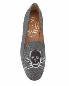 Stubbs and Wootton Stitched Skull Smoking Slipper