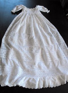 Lacy Vintage English Christening Gown with Petticoat