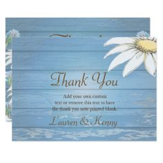 Whimsical Wood Daisies Thank You Cards