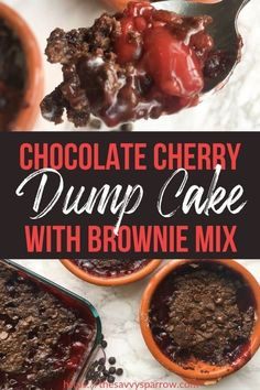Then you have to try this easy chocolate cherry dump cake now! This yummy dump cake with cherries is made with brownie mix instead of cake mix. Add this to your list of dump cake ideas to make for desserts to feed a crowd! Cherry Desserts, Köstliche Desserts, Delicious Desserts, Dessert Recipes, Baking Recipes, Chocolate Cherry Dump Cake, Chocolate Cobbler, Chocolate Cake With Cherries, Chocolate Brownie Cake