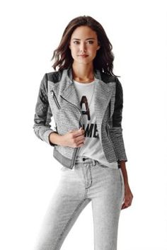 Long-Sleeve Tweed and Faux-Leather Jacket | GUESS.com
