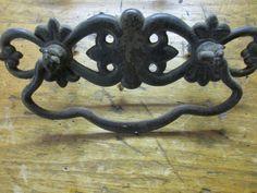 BEST PRICE $17.99 Pair of Vintage Cast Iron/Brass Drawer Cabinet Door Handles Pulls Hardware. Cabinet Door Handles, Cabinet Doors, Antique Drawer Pulls, Cast Iron, Drawers, Hardware, Brass, Antiques, Vintage