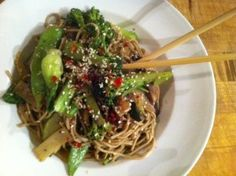 Sesame Soba Noodle Stir Fry. Pretty darn good. Needs more garlic next time. What doesn't really? #vegan