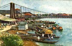 Pasig River's Suspension Bridge, 1920 Philippine Art, Filipiniana, Suspension Bridge, Scene, River, Rivers, Stage