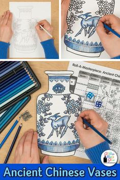 Learn art history while creating a Chinese vase inspired by the Ming Dynasty. Fill up your middle school classroom sub plan folder with no-prep art projects, lesson plans, and templates that are easy to implement. Great for arts integration, homeschooling Art History Lessons, History Projects, Art Sub Lessons, History Lesson Plans, Art Education Projects, History Major, Middle School Art Projects, Art School, Middle School Crafts