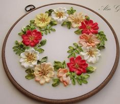 hand embroidery designs ribbon embroidery flowers Panels of colorful wild rose flowers wall decoration object interior Mother's Day gift hand embroidery designs ribbon embroidery flowers Panels of image 3 Ribbon Embroidery Tutorial, Rose Embroidery, Silk Ribbon Embroidery, Embroidery Hoop Art, Hand Embroidery Designs, Embroidery Patterns, Embroidery Stitches, Embroidery Supplies, Embroidery Books