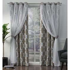 Exclusive Home Curtains Carmela Layered Geometric Blackout and Sheer Window Curtain Panel Pair with Grommet Top, Natural, 2 Piece Home Curtains, Curtains Living, Grommet Curtains, Window Curtains, Sheer Curtains, Fringe Curtains, Grey Blackout Curtains, Gypsy Curtains, Modern Curtains