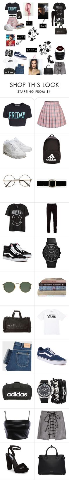"""school library help desk🏫📓✏️"" by litlleheart03 on Polyvore featuring Alberta Ferretti, NIKE, adidas, Express, Gap, Marcelo Burlon, Ray-Ban, Vans, PS Paul Smith and A.X.N.Y."