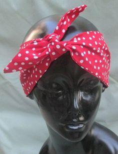 "Red polka dot hair wrap headband bandanna ""Rosie"" hand made rockabilly pin up"