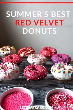 This year, I made three different baked cake donut recipes: Vanilla, red velvet, and chocolate. All three baked donut recipes are without yeast which means they come together super quickly. In fact, you might spend more time thinking about what designs to make than actually making them! Baked red velvet donuts that are just as light and fluffy as red velvet cupcakes. Easy to make and ready in less than 30 minutes. #easydonutrecipe #bestdooughnutrecipe #noyeastbreadrecipe