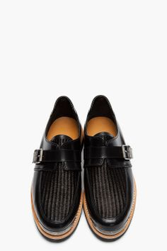 BALMAIN Black Leather Buckled Steel Capped Shoes