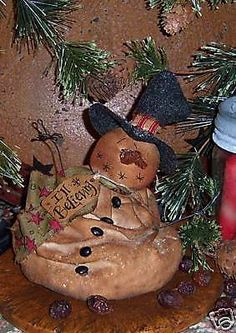Primitive Melting Frosty Snowman Ornie Doll Paper Pattern 388