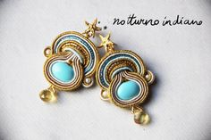 handmade soutache earrings with turquoise and topaz