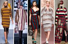 Print + Pattern: Broad Bandwidth-- Broad-width rugby, variegated, and awning stripes pack vintage and tomboy punches. L-R: Max Mara, Fendi, Prada, Marni, Fausto Puglisi