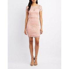 Pink Floral Lace Bodycon Dress - Size