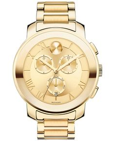 Movado Women's Swiss Chronograph Bold Gold Ion-Plated Stainless Steel Bracelet Watch 40mm 3600209 - Movado - Jewelry & Watches - Macy's