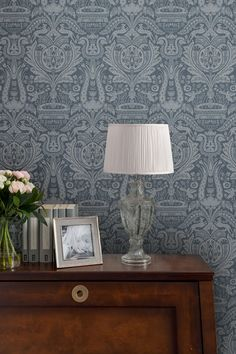 NEW: Introducing our new Heraldic Damask print. A beautiful print with archival roots, the new Heraldic Damask print is designed to complement our Tapestry Floral story. The print features small whimsical creatures throughout and is a nod to the more playful Laura Ashley styles of the 80s. The perfect choice for creating a dramatic and regal finish to any room.