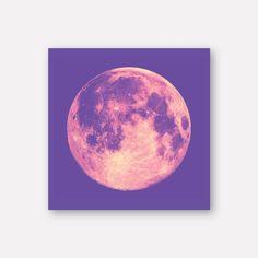핑크퍼플 달 캔버스 그림 액자 MOON NO.6 Tapestry, Moon, Clouds, Canvas, Purple, Painting, Outdoor, Hanging Tapestry, The Moon