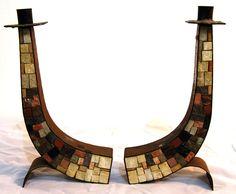 Vintage Shabat Candlesticks Hammered Copper Mosaic Stone HandMade Israel Judaica