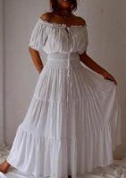Amazon.com: WHITE DRESS PEASANT SMOCKED RUFFLED - FITS - S M L - O133S LOTUSTRADERS: Clothing