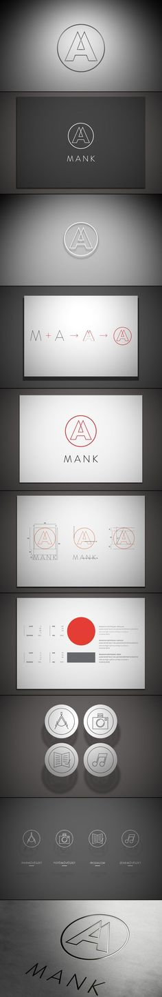 logo Mank / branding / identity / stationary / lines / geometric / simple / black and white / modern and clean