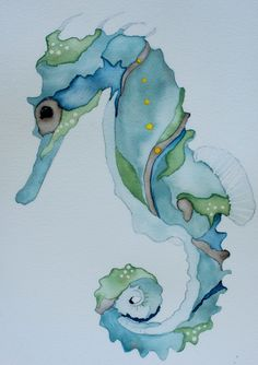 Nautical watercolor art blue seahorsecrab 8x10 signed PRINT blue and sea green print by ssbaud on Etsy