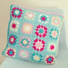 @  sharna sews instagram - pretty crochet cushion from Lucy's free pattern here: http://attic24.typepad.com/weblog/summer-garden-granny-square/comments/page/2/