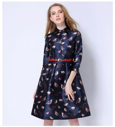 Birds print casual midi office dress plus size three quarter tunic - Uniqistic.com