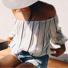 Stylish Three Quarter Sleeve Off-The-Shoulder Striped Women's BlouseBlouses   RoseGal.com