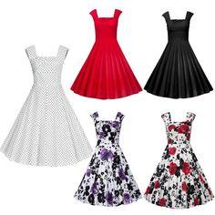 Plus Size Vintage Rockabilly Swing Evening Party Dress Cocktail Dresses M-5Xl