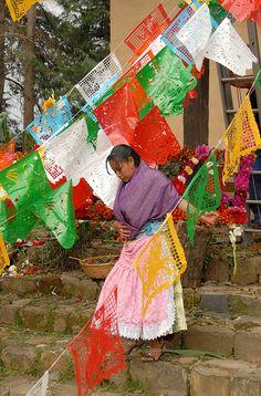 P'urhepecha woman at a fiesta in Michoacan, Mexico