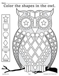 Help your students become familiar with common shapes while learning color recognition and fine motor skills with this fall shapes worksheet! Shapes included are a square, circle, diamond,. Owls Kindergarten, Kindergarten Coloring Pages, Shape Coloring Pages, Fall Coloring Pages, Shapes Worksheets, School Worksheets, Coloring Worksheets, Shapes Worksheet Preschool, Owl Activities